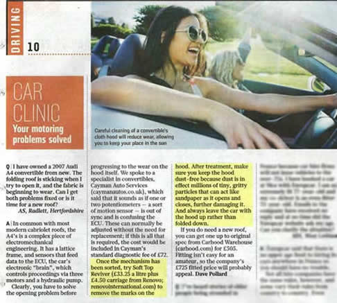 Mention in the Sunday Times Car Clinic